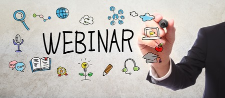 elearning: Businessman drawing Webinar concept with a marker