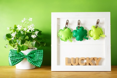 plant in pot: Saint Patricks Day message board with clover cushions