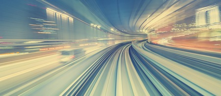 Abstract high speed technology POV motion blurred concept image from the Yuikamome monorail in Tokyo Japan Stockfoto