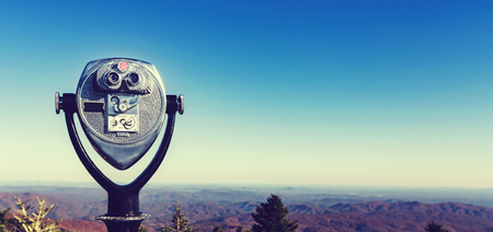 nc: Coin-operated binoculars looking out over the Blue Ridge Mountains, NC