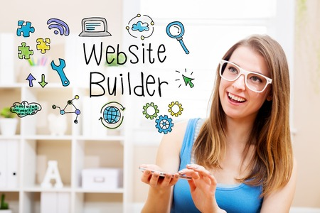 home builder: Wbsite Builder concept with young woman wearing white glasses using her smartphone in her home Stock Photo