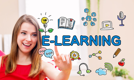 small business: E-Leaning concept with young woman in her home Stock Photo