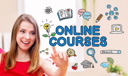 Online Courses concept with young woman in her home