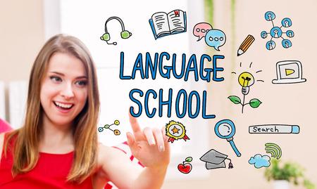 languages: Concepto de la escuela de idiomas con la mujer joven en su casa