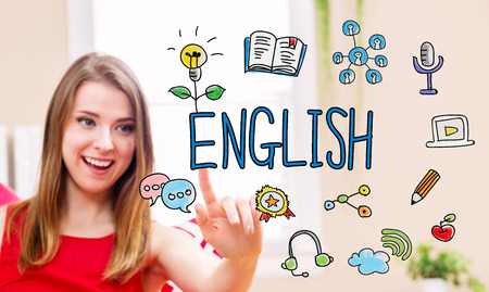 in english: English concept with young woman in her home