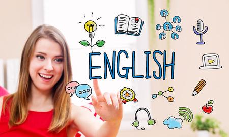 Koncepcja angielski z młodą kobietę w jej domu