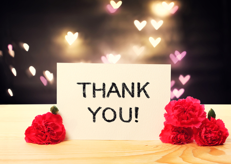 so: Thank You message card with carnation flowers and heart shaped lights Stock Photo