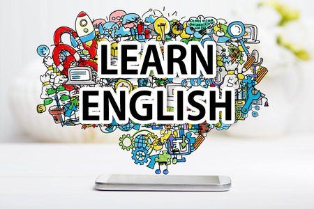 cellphone: Learn English concept with smartphone on white table