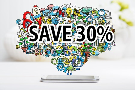 Save 30 percent text with smartphone on white table Stok Fotoğraf