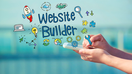 creation of sites: Website builder concept with person holding a smartphone