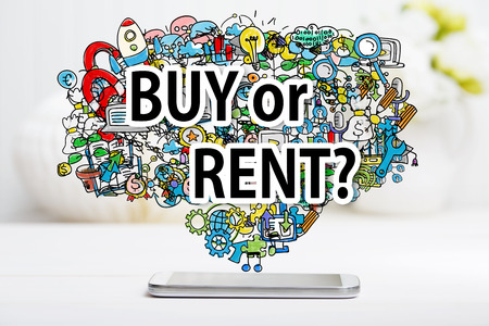 rent: Buy or Rent concept with smartphone on white table
