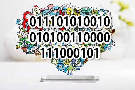 small business computer: Binary Code concept with smartphone on white table Stock Photo
