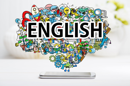 English concept with smartphone on white table Stock Photo