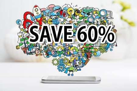 60: Save 60 percent text with smartphone on white table