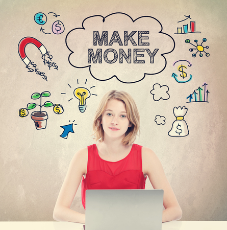cash money: Make money concept with young woman working on a laptop