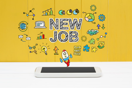 new job: New Job concept with smartphone on yellow wooden background