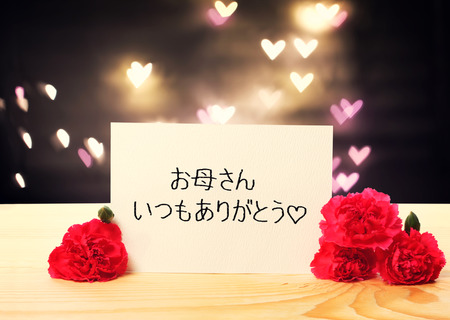 agradecimiento: Thank you Mom message in Japanese language with carnation flowers Foto de archivo