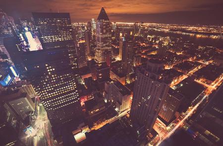 metropolitan: Midtown Manhattan New York skyline at night Stock Photo
