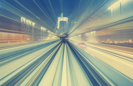 Abstract high speed technology POV motion blurred concept image from the Yuikamome monorail in Tokyo Japan Stok Fotoğraf