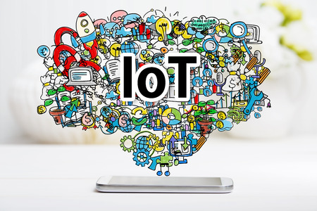 IoT concept with smartphone on white table Stok Fotoğraf - 54120004