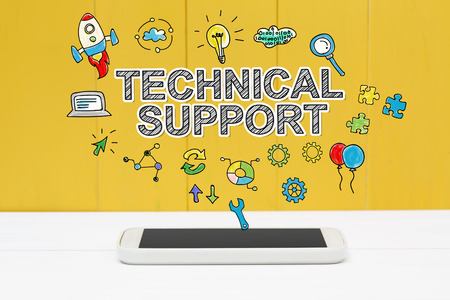 maintenance technician: Technical Support concept with smartphone on yellow wooden background