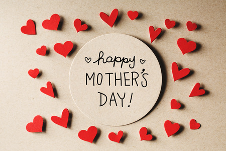 Happy Mothers Day message with handmade small paper hearts