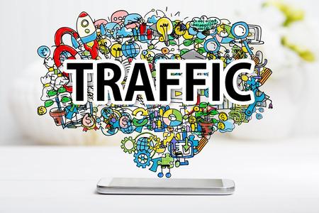 incremento: concepto de tráfico con el teléfono inteligente en el vector blanco