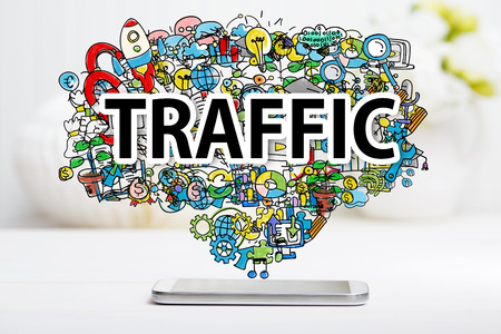 increases: Traffic concept with smartphone on white table