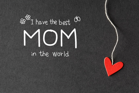 I have the best Mom in the world message with handmade small paper hearts Stock Photo