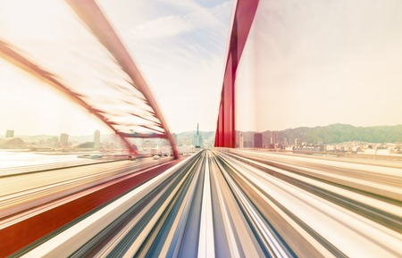 network people: Abstract high speed technology POV concept image via the Kobe Portliner Monorail