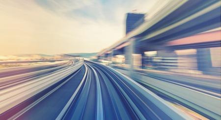 Abstracte technologie POV-concept afbeelding met hoge snelheid via de Kobe Portliner Monorail Stockfoto
