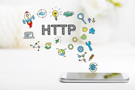 http: Http concept with smartphone on white table
