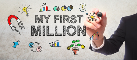 million: Businessman drawing My First Million concept with a marker