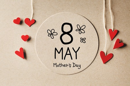 the mother: 8 May Mothers Day message with handmade small paper hearts