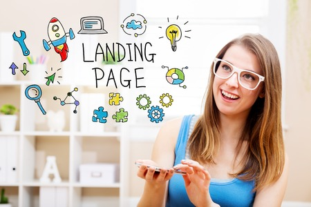 woman smartphone: Landing page concept with young woman wearing white glasses using her smartphone in her home Stock Photo