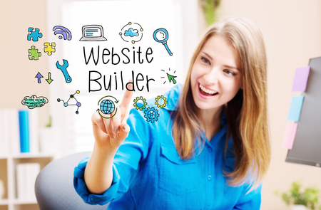 home builder: Website Builder concept with young woman in her home office