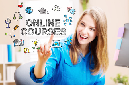 courses: Online courses concept with young woman in her home office
