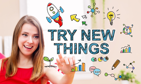 try: Try New Things concept with young woman in her home