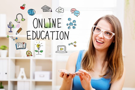 Online education concept with young woman wearing white glasses using her smartphone in her home