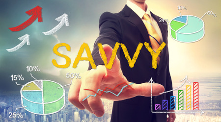 savvy: Savvy concept with businessman and graphs and arrows