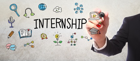 panoramic business: Businessman drawing Internship concept with a marker