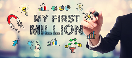 million: Businessman drawing My first Million concept on blurred abstract background