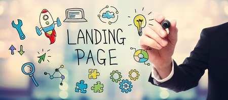landing: Businessman drawing Landing Page concept on blurred abstract background
