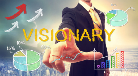visionary: Visionary concept with businessman and graphs and arrows
