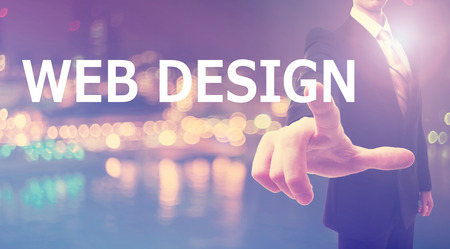 web browser: Web Design concept with businessman on blurred city background
