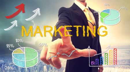 Marketing concept with businessman and graphs and arrows Stock Photo - 55971048