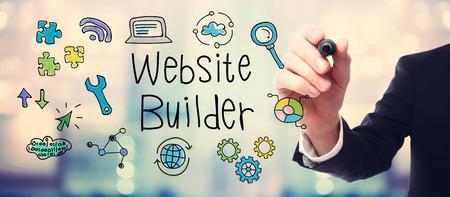 schöpfung: Businessman Zeichnung Website Builder Konzept auf unscharfen abstrakten Hintergrund Lizenzfreie Bilder