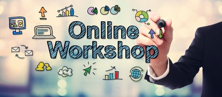 workshop seminar: Businessman drawing Online Workshop concept on blurred abstract background Stock Photo