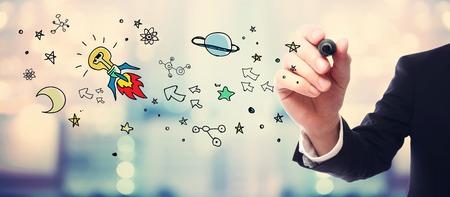 Homme d'affaires Idée dessin Rocket concept sur le flou fond abstrait