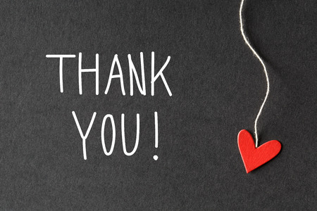 so: Thank you message with handmade small paper hearts